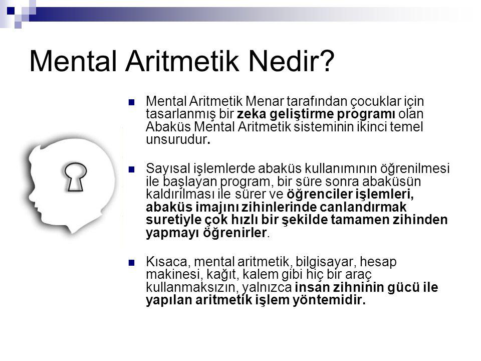 Mental Aritmetik Nedir?  Mental Aritmetik Menar tarafından çocuklar için tasarlanmış bir zeka geliştirme programı olan Abaküs Mental Aritmetik sistem
