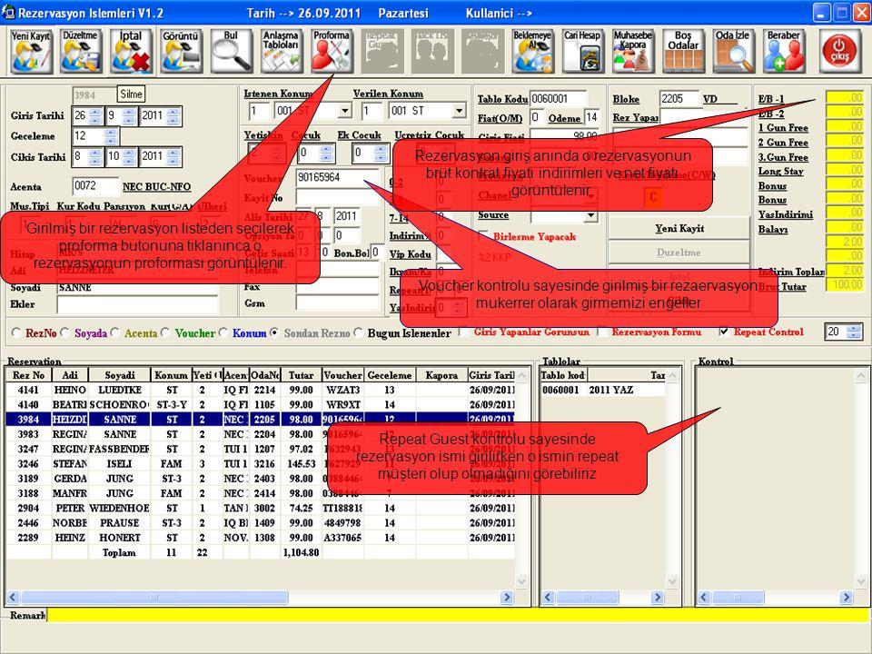İki tarih arası giriş yapacak (arrival list), çıkış yapacak (departure list), belli bir tarihte girilen rezervasyonlar, vb… tüm rezervasyon raporları istenilen kriterlere göre sıralama veya süzme yaparak alınabilir.