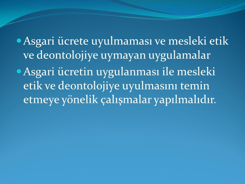  Asgari ücrete uyulmaması ve mesleki etik ve deontolojiye uymayan uygulamalar  Asgari ücretin uygulanması ile mesleki etik ve deontolojiye uyulmasın