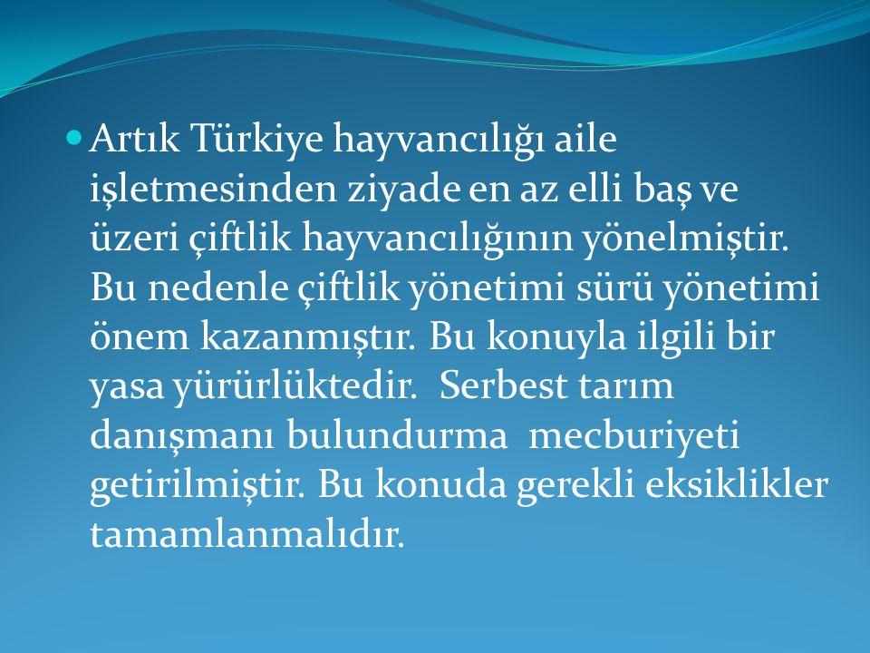  Artık Türkiye hayvancılığı aile işletmesinden ziyade en az elli baş ve üzeri çiftlik hayvancılığının yönelmiştir. Bu nedenle çiftlik yönetimi sürü y
