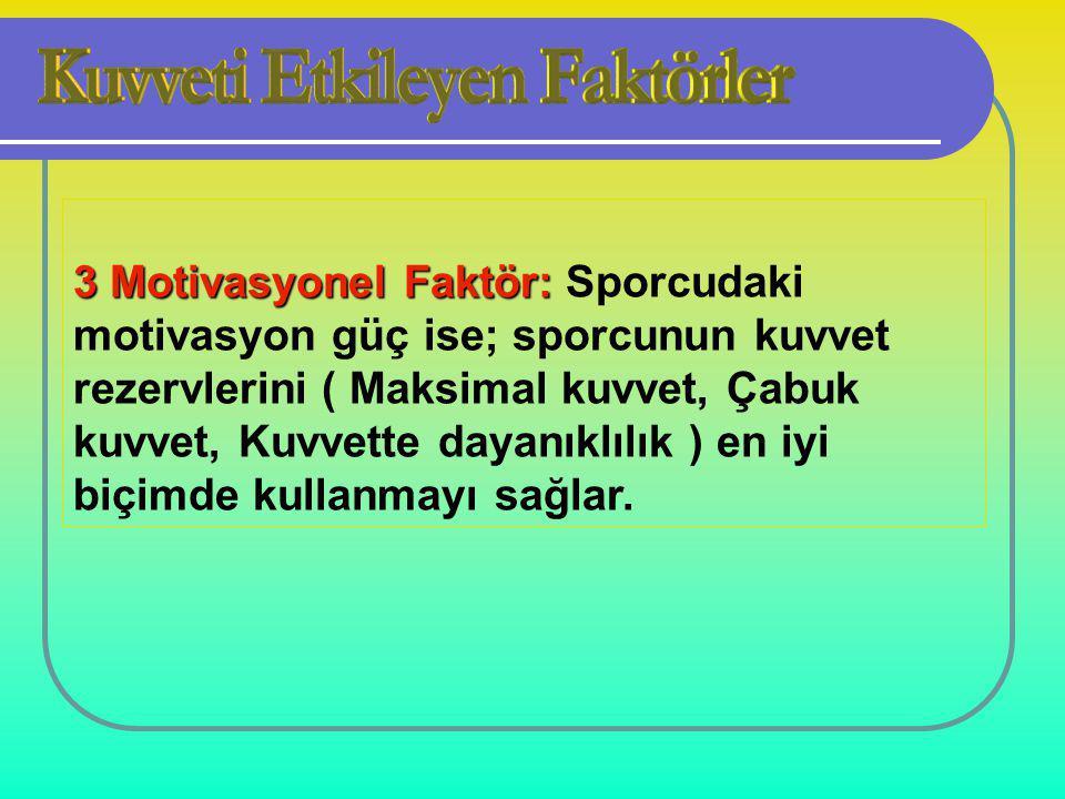 3 Motivasyonel Faktör: 3 Motivasyonel Faktör: Sporcudaki motivasyon güç ise; sporcunun kuvvet rezervlerini ( Maksimal kuvvet, Çabuk kuvvet, Kuvvette dayanıklılık ) en iyi biçimde kullanmayı sağlar.
