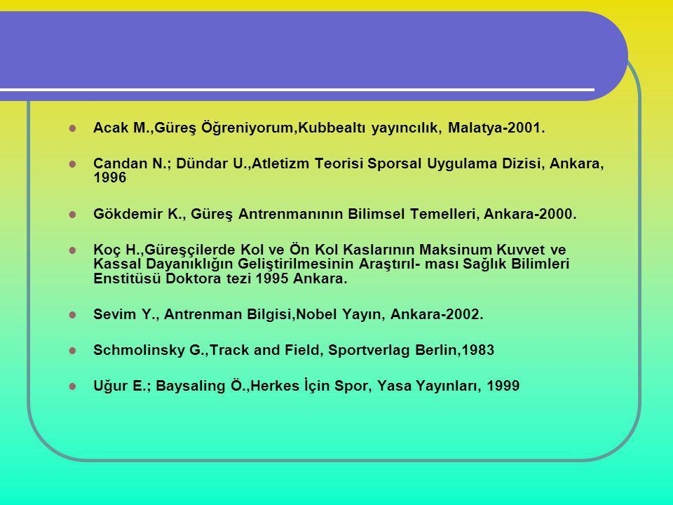  Acak M.,Güreş Öğreniyorum,Kubbealtı yayıncılık, Malatya-2001.