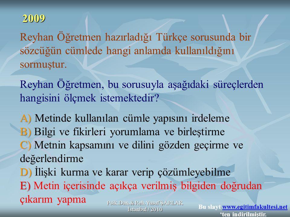 A) B) C) D) E) Reyhan Öğretmen hazırladığı Türkçe sorusunda bir sözcüğün cümlede hangi anlamda kullanıldığını sormuştur.