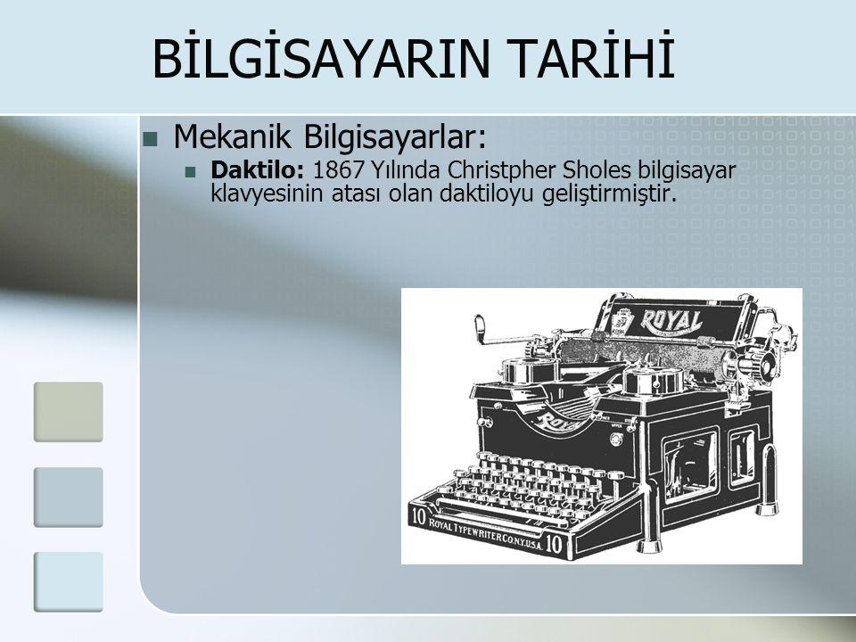 BİLGİSAYARIN TARİHİ  Mekanik Bilgisayarlar:  Daktilo: 1867 Yılında Christpher Sholes bilgisayar klavyesinin atası olan daktiloyu geliştirmiştir.