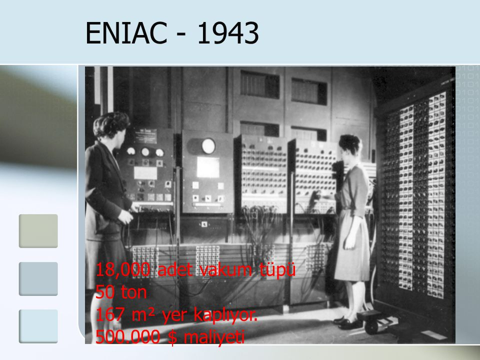 ENIAC - 1943 18,000 adet vakum tüpü 50 ton 167 m² yer kaplıyor. 500.000 $ maliyeti