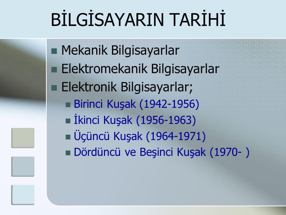 BİLGİSAYARIN TARİHİ  Mekanik Bilgisayarlar  Elektromekanik Bilgisayarlar  Elektronik Bilgisayarlar;  Birinci Kuşak (1942-1956)  İkinci Kuşak (1956-1963)  Üçüncü Kuşak (1964-1971)  Dördüncü ve Beşinci Kuşak (1970- )