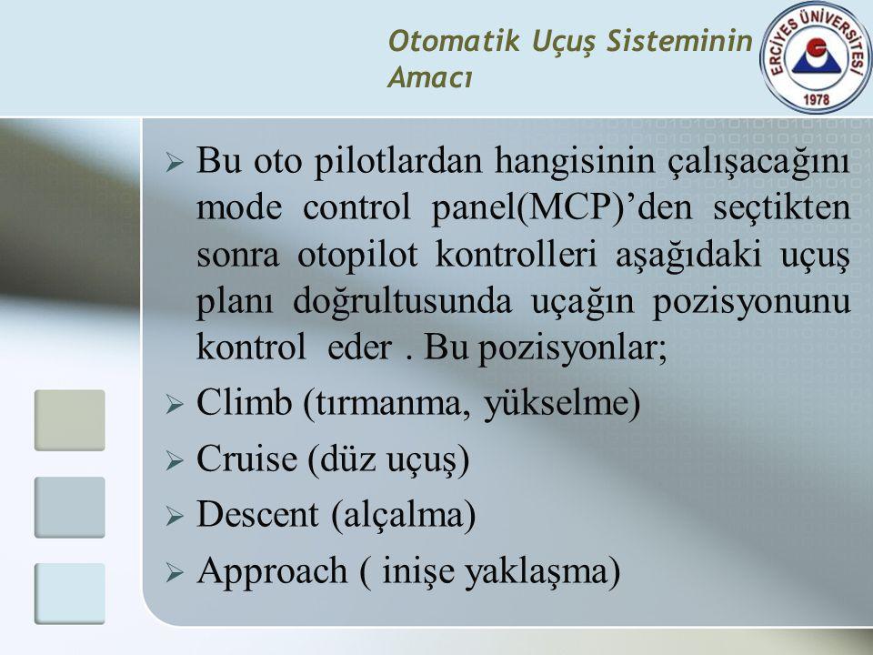 Otomatik Uçuş Sisteminin Amacı  Bu oto pilotlardan hangisinin çalışacağını mode control panel(MCP)'den seçtikten sonra otopilot kontrolleri aşağıdaki