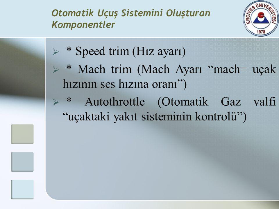 """Otomatik Uçuş Sistemini Oluşturan Komponentler  * Speed trim (Hız ayarı)  * Mach trim (Mach Ayarı """"mach= uçak hızının ses hızına oranı"""")  * Autothr"""