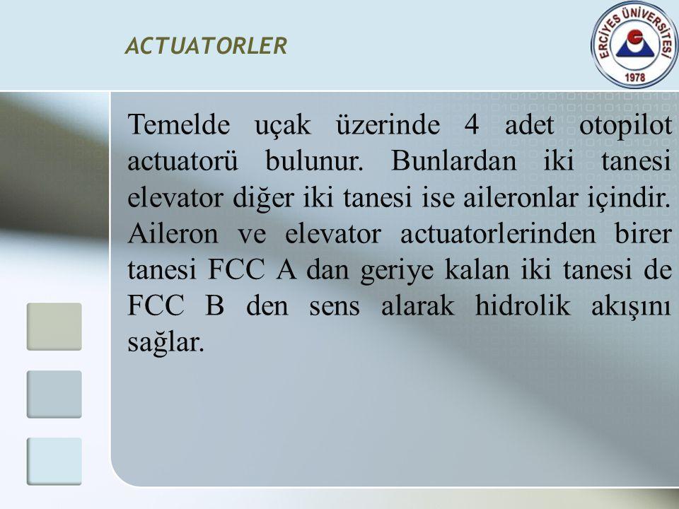 ACTUATORLER Temelde uçak üzerinde 4 adet otopilot actuatorü bulunur. Bunlardan iki tanesi elevator diğer iki tanesi ise aileronlar içindir. Aileron ve