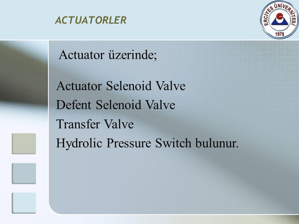 Actuator üzerinde; Actuator Selenoid Valve Defent Selenoid Valve Transfer Valve Hydrolic Pressure Switch bulunur.