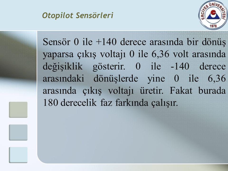 Sensör 0 ile +140 derece arasında bir dönüş yaparsa çıkış voltajı 0 ile 6,36 volt arasında değişiklik gösterir. 0 ile -140 derece arasındaki dönüşlerd