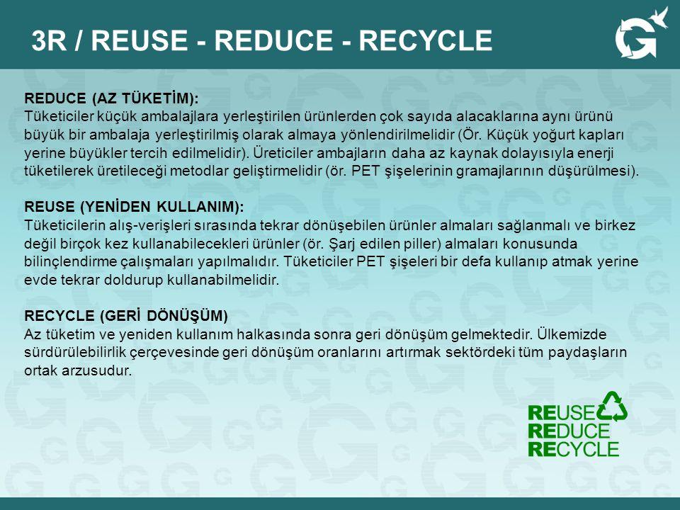 REDUCE (AZ TÜKETİM): Tüketiciler küçük ambalajlara yerleştirilen ürünlerden çok sayıda alacaklarına aynı ürünü büyük bir ambalaja yerleştirilmiş olara