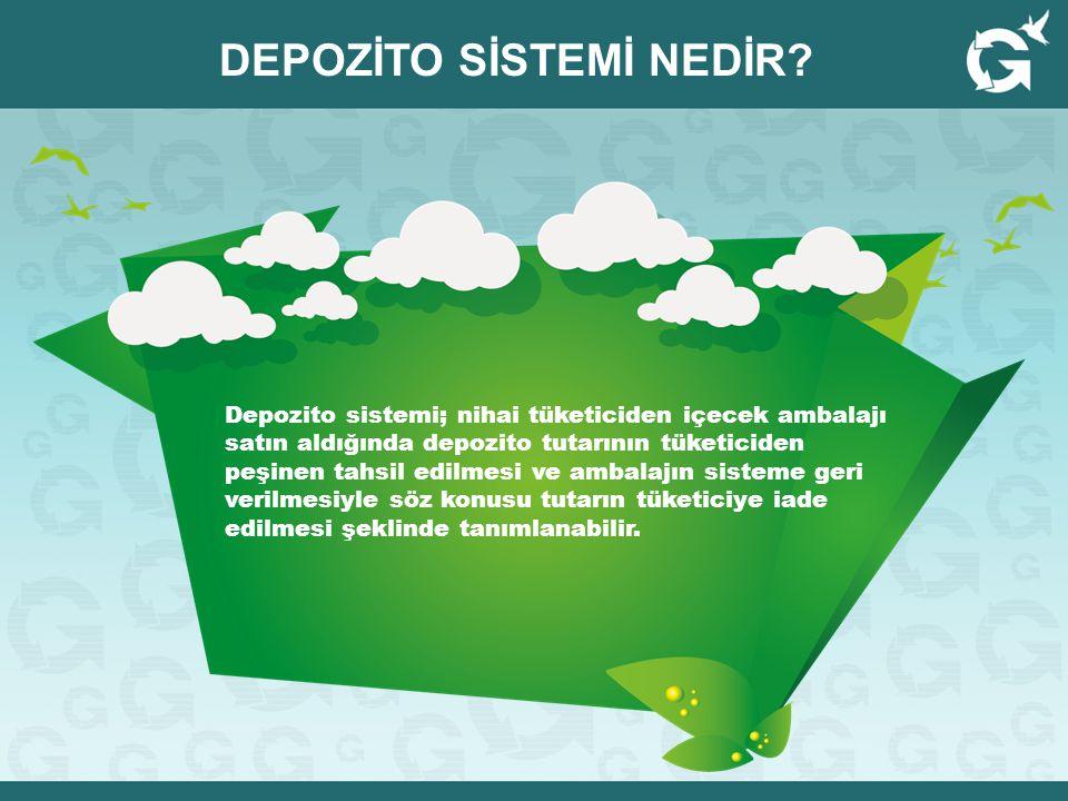Depozito sistemi; nihai tüketiciden içecek ambalajı satın aldığında depozito tutarının tüketiciden peşinen tahsil edilmesi ve ambalajın sisteme geri v