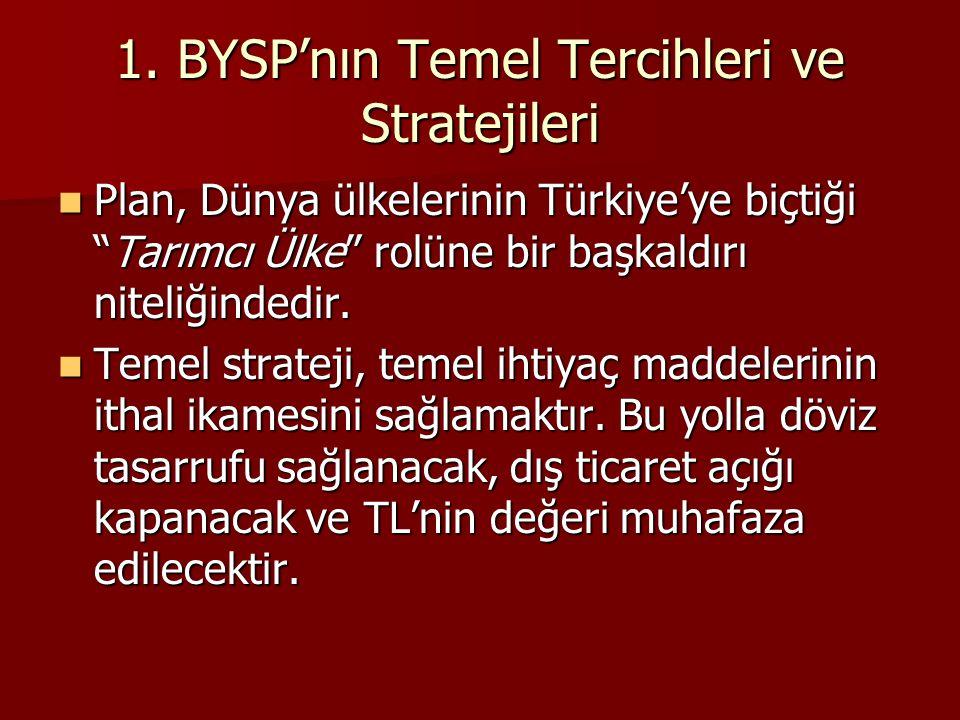 """1. BYSP'nın Temel Tercihleri ve Stratejileri  Plan, Dünya ülkelerinin Türkiye'ye biçtiği """"Tarımcı Ülke"""" rolüne bir başkaldırı niteliğindedir.  Temel"""