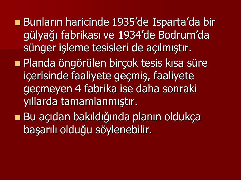  Bunların haricinde 1935'de Isparta'da bir gülyağı fabrikası ve 1934'de Bodrum'da sünger işleme tesisleri de açılmıştır.  Planda öngörülen birçok te