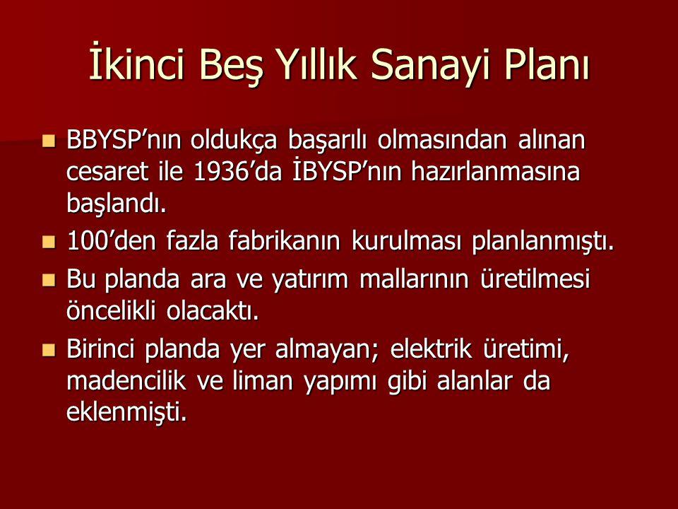 İkinci Beş Yıllık Sanayi Planı  BBYSP'nın oldukça başarılı olmasından alınan cesaret ile 1936'da İBYSP'nın hazırlanmasına başlandı.  100'den fazla f