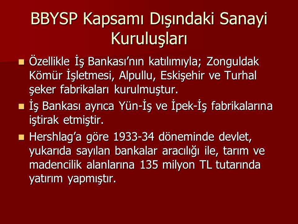 BBYSP Kapsamı Dışındaki Sanayi Kuruluşları  Özellikle İş Bankası'nın katılımıyla; Zonguldak Kömür İşletmesi, Alpullu, Eskişehir ve Turhal şeker fabri
