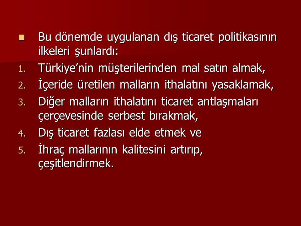  Bu dönemde uygulanan dış ticaret politikasının ilkeleri şunlardı: 1. Türkiye'nin müşterilerinden mal satın almak, 2. İçeride üretilen malların ithal