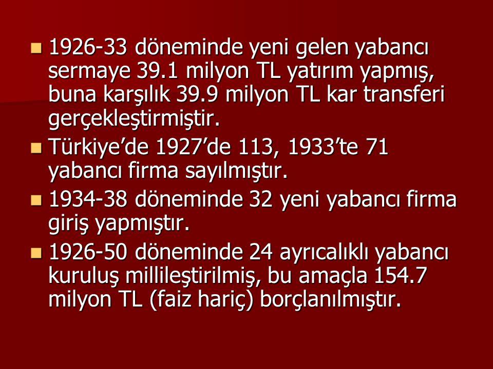  1926-33 döneminde yeni gelen yabancı sermaye 39.1 milyon TL yatırım yapmış, buna karşılık 39.9 milyon TL kar transferi gerçekleştirmiştir.  Türkiye
