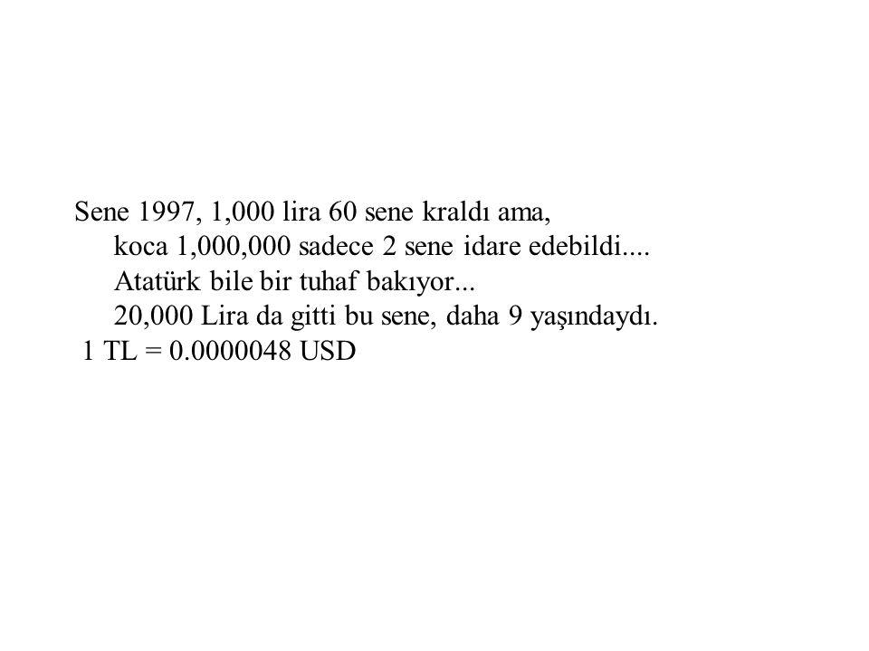 Sene 1997, 1,000 lira 60 sene kraldı ama, koca 1,000,000 sadece 2 sene idare edebildi.... Atatürk bile bir tuhaf bakıyor... 20,000 Lira da gitti bu se