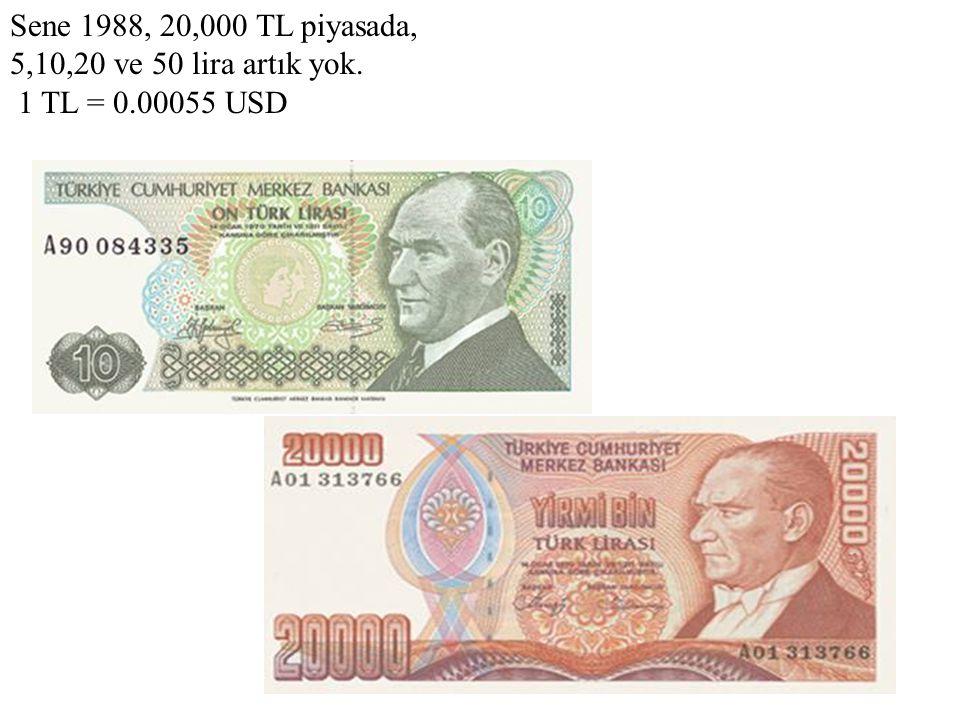 Sene 1989, artık 20,000 lira da yetmiyor. Buyurun 50,000 TL. 1 TL = 0.00043 USD