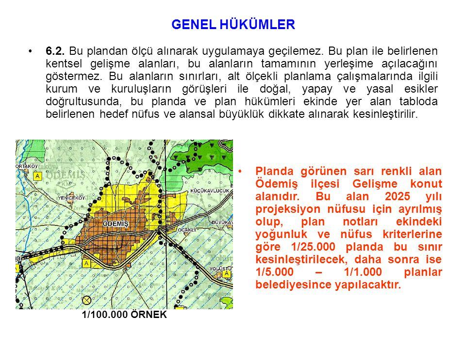 •6.2. Bu plandan ölçü alınarak uygulamaya geçilemez. Bu plan ile belirlenen kentsel gelişme alanları, bu alanların tamamının yerleşime açılacağını gös