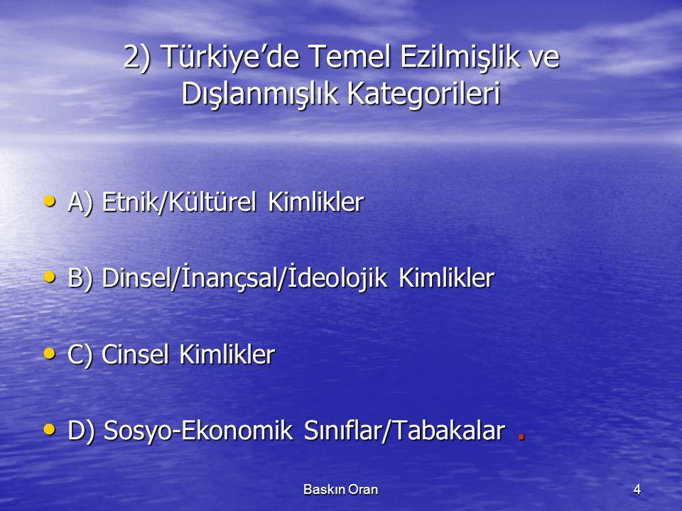 Baskın Oran4 2) Türkiye'de Temel Ezilmişlik ve Dışlanmışlık Kategorileri • A) Etnik/Kültürel Kimlikler • B) Dinsel/İnançsal/İdeolojik Kimlikler • C) Cinsel Kimlikler • D) Sosyo-Ekonomik Sınıflar/Tabakalar.