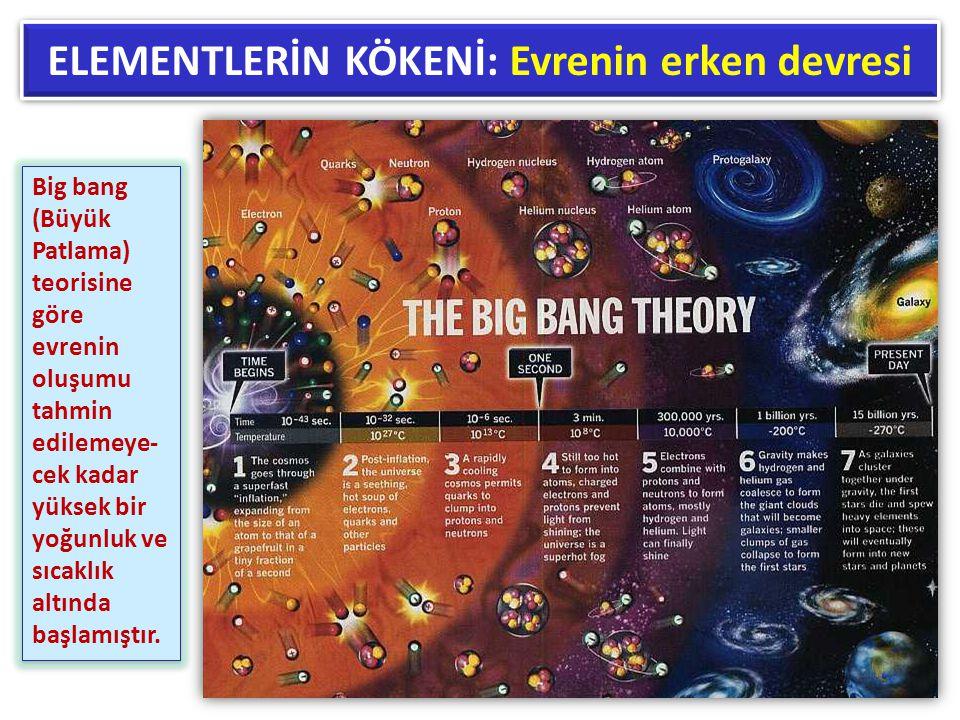 ELEMENTLERİN KÖKENİ: Evrenin erken devresi Big bang (Büyük Patlama) teorisine göre evrenin oluşumu tahmin edilemeye- cek kadar yüksek bir yoğunluk ve