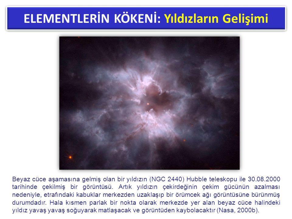 ELEMENTLERİN KÖKENİ: Yıldızların Gelişimi Beyaz cüce aşamasına gelmiş olan bir yıldızın (NGC 2440) Hubble teleskopu ile 30.08.2000 tarihinde çekilmiş