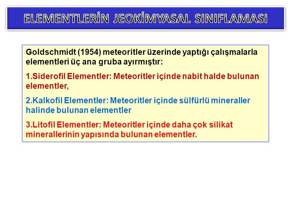 Goldschmidt (1954) meteoritler üzerinde yaptığı çalışmalarla elementleri üç ana gruba ayırmıştır: 1.Siderofil Elementler: Meteoritler içinde nabit hal