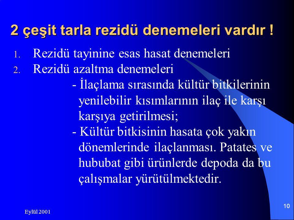 Eylül 2001 9 Rezidü çalışmalarının işleyişi  Rezidü çalışmalarında izlenen temel yol en kötü senaryonun olabileceği varsayımı ile hareket edilmesidir.