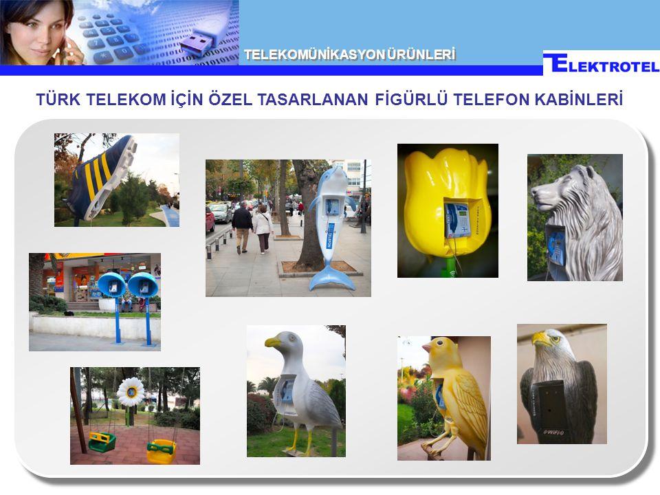 TELEKOMÜNİKASYON ÜRÜNLERİ TÜRK TELEKOM İÇİN ÜRETİLEN AKILLI TELEFON KABİNLERİ • Solar enerjili aydınlatma • Uzaktan yönetilebilen LCD ekranlı reklam portali • Konfigüre edilebilir modüler dizayn • Multimedya telefon montajına uyumlu • Aşırı ısı farklarına, yağmura ve korozyona dayanıklı • Komple led aydınlatma • Kolay kurulum