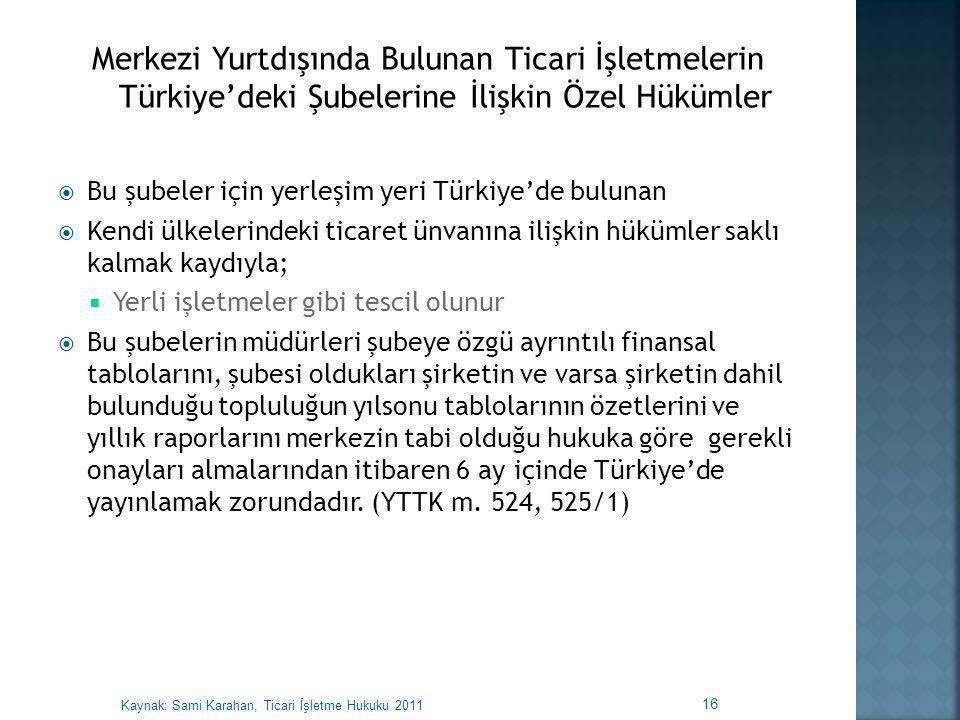  Bu şubeler için yerleşim yeri Türkiye'de bulunan  Kendi ülkelerindeki ticaret ünvanına ilişkin hükümler saklı kalmak kaydıyla;  Yerli işletmeler g