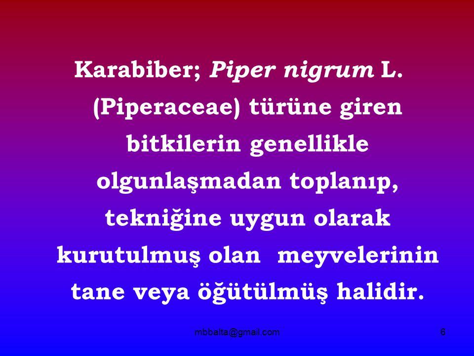 mbbalta@gmail.com6 Karabiber; Piper nigrum L. (Piperaceae) türüne giren bitkilerin genellikle olgunlaşmadan toplanıp, tekniğine uygun olarak kurutulmu