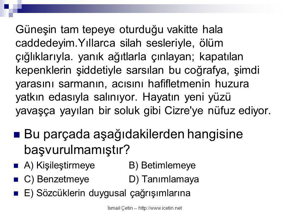 İsmail Çetin -- http://www.icetin.net Güneşin tam tepeye oturduğu vakitte hala caddedeyim.Yıllarca silah sesleriyle, ölüm çığlıklarıyla.