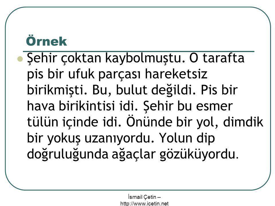 İsmail Çetin -- http://www.icetin.net Örnek  Şehir çoktan kaybolmuştu.
