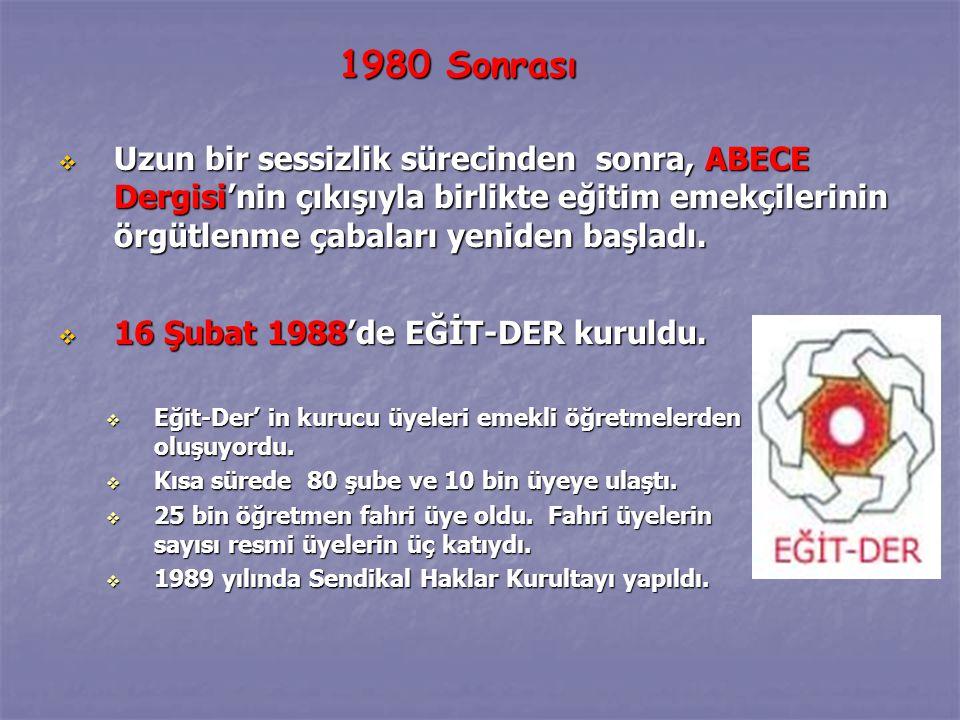  16 Şubat 1988'de EĞİT-DER kuruldu. Eğit-Der' in kurucu üyeleri emekli öğretmelerden oluşuyordu.