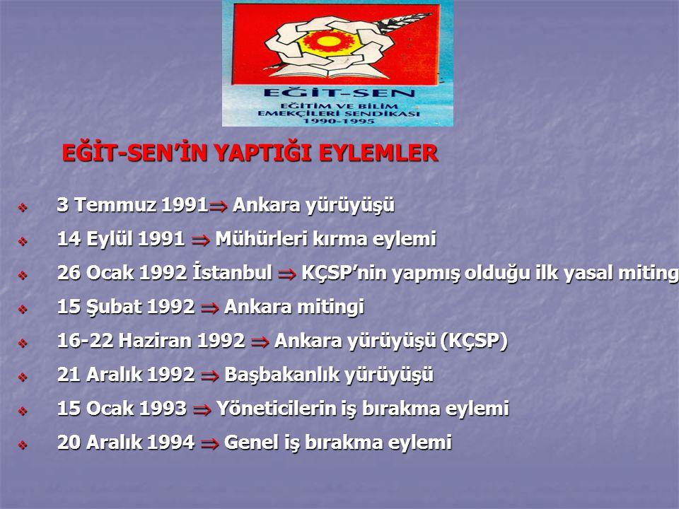 EĞİT-SEN'İN YAPTIĞI EYLEMLER EĞİT-SEN'İN YAPTIĞI EYLEMLER  3 Temmuz 1991  Ankara yürüyüşü  14 Eylül 1991  Mühürleri kırma eylemi  26 Ocak 1992 İstanbul  KÇSP'nin yapmış olduğu ilk yasal miting  15 Şubat 1992  Ankara mitingi  16-22 Haziran 1992  Ankara yürüyüşü (KÇSP)  21 Aralık 1992  Başbakanlık yürüyüşü  15 Ocak 1993  Yöneticilerin iş bırakma eylemi  20 Aralık 1994  Genel iş bırakma eylemi