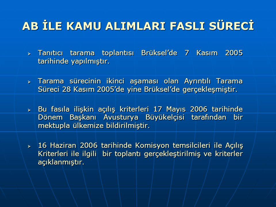 AB İLE KAMU ALIMLARI FASLI SÜRECİ  Tanıtıcı tarama toplantısı Brüksel'de 7 Kasım 2005 tarihinde yapılmıştır.  Tarama sürecinin ikinci aşaması olan A