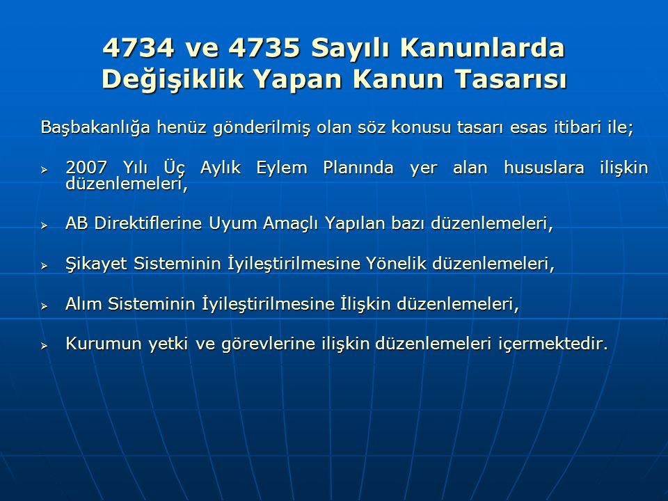 4734 ve 4735 Sayılı Kanunlarda Değişiklik Yapan Kanun Tasarısı Başbakanlığa henüz gönderilmiş olan söz konusu tasarı esas itibari ile;  2007 Yılı Üç