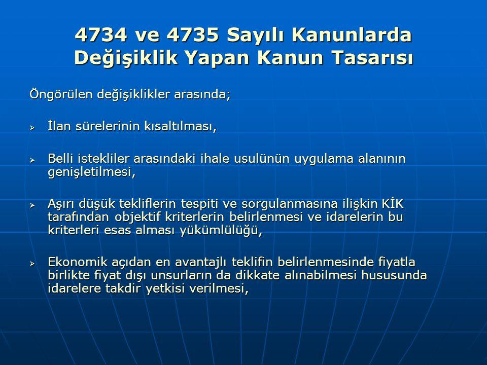 4734 ve 4735 Sayılı Kanunlarda Değişiklik Yapan Kanun Tasarısı Öngörülen değişiklikler arasında;  İlan sürelerinin kısaltılması,  Belli istekliler a