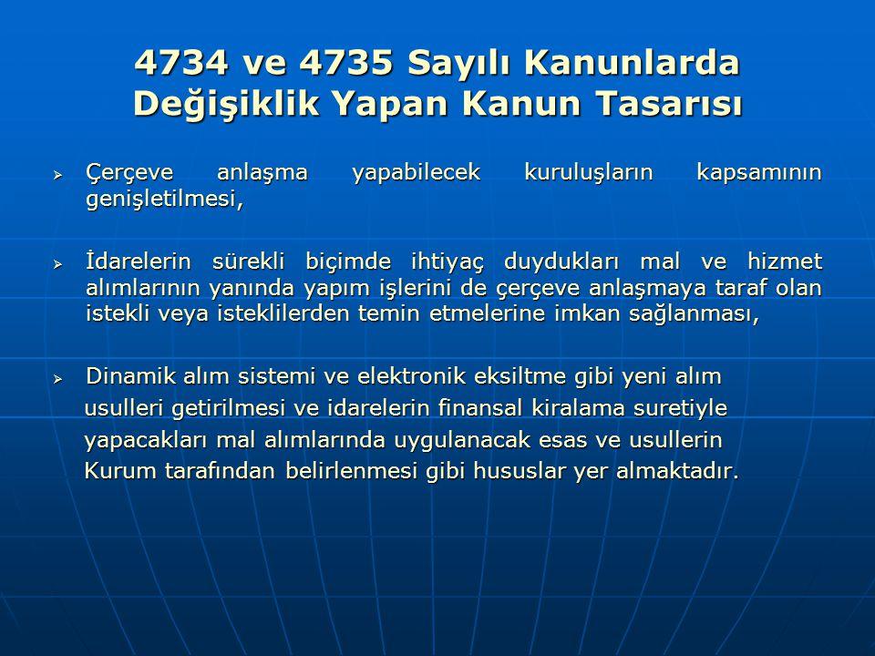 4734 ve 4735 Sayılı Kanunlarda Değişiklik Yapan Kanun Tasarısı  Çerçeve anlaşma yapabilecek kuruluşların kapsamının genişletilmesi,  İdarelerin süre