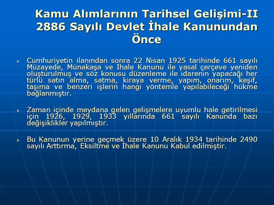 Kamu Alımlarının Tarihsel Gelişimi-II 2886 Sayılı Devlet İhale Kanunundan Önce  Cumhuriyetin ilanından sonra 22 Nisan 1925 tarihinde 661 sayılı Müzay