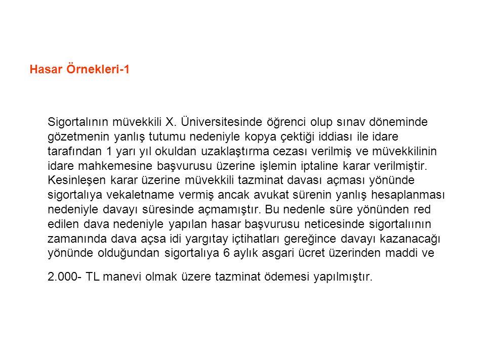 Hasar Örnekleri-1 Sigortalının müvekkili X.