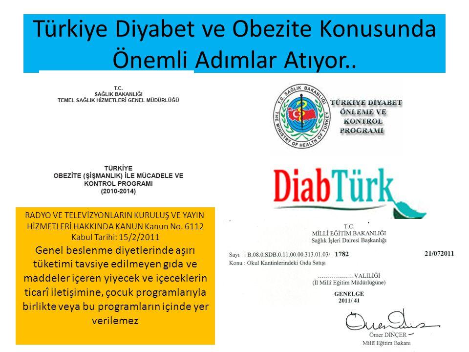 Türkiye Diyabet ve Obezite Konusunda Önemli Adımlar Atıyor.. RADYO VE TELEVİZYONLARIN KURULUŞ VE YAYIN HİZMETLERİ HAKKINDA KANUN Kanun No. 6112 Kabul