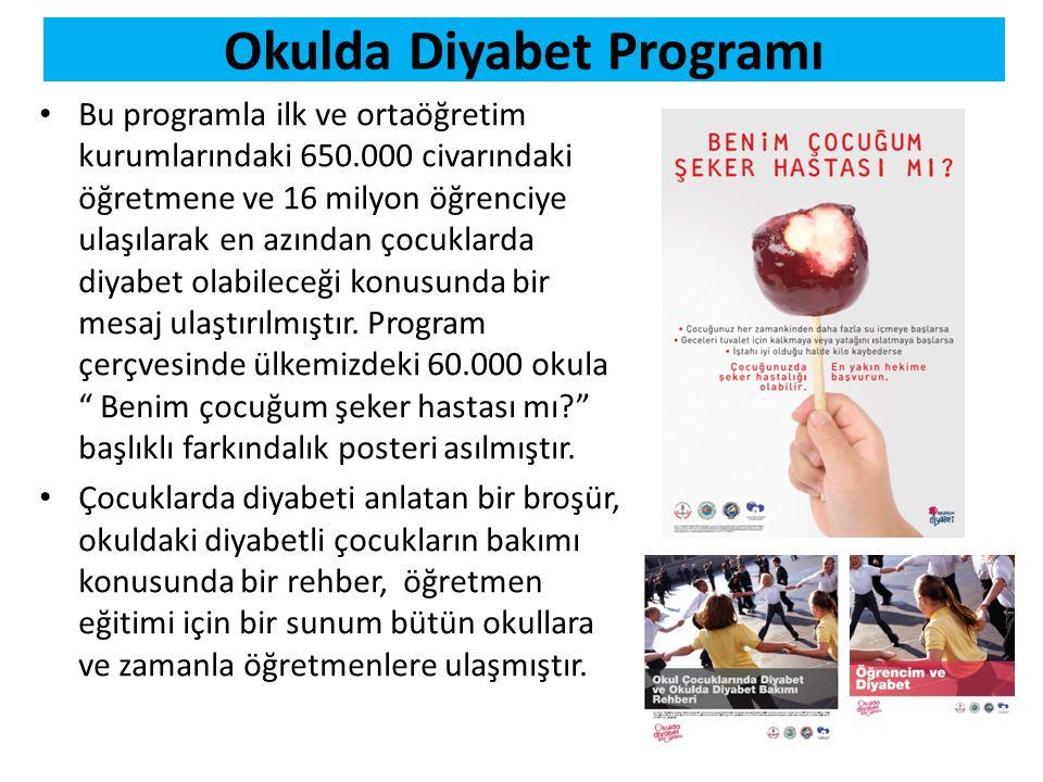 Okulda Diyabet Programı • Bu programla ilk ve ortaöğretim kurumlarındaki 650.000 civarındaki öğretmene ve 16 milyon öğrenciye ulaşılarak en azından ço