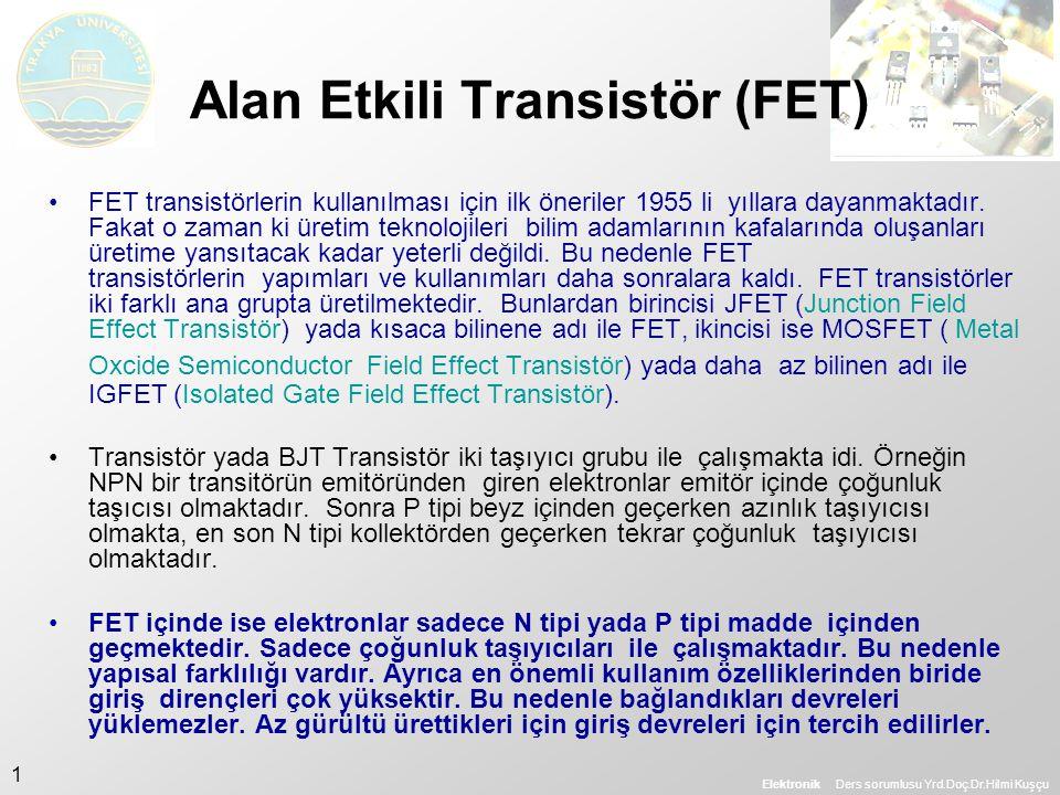 Elektronik Ders sorumlusu Yrd.Doç.Dr.Hilmi Kuşçu 1 Alan Etkili Transistör (FET) •FET transistörlerin kullanılması için ilk öneriler 1955 li yıllara da
