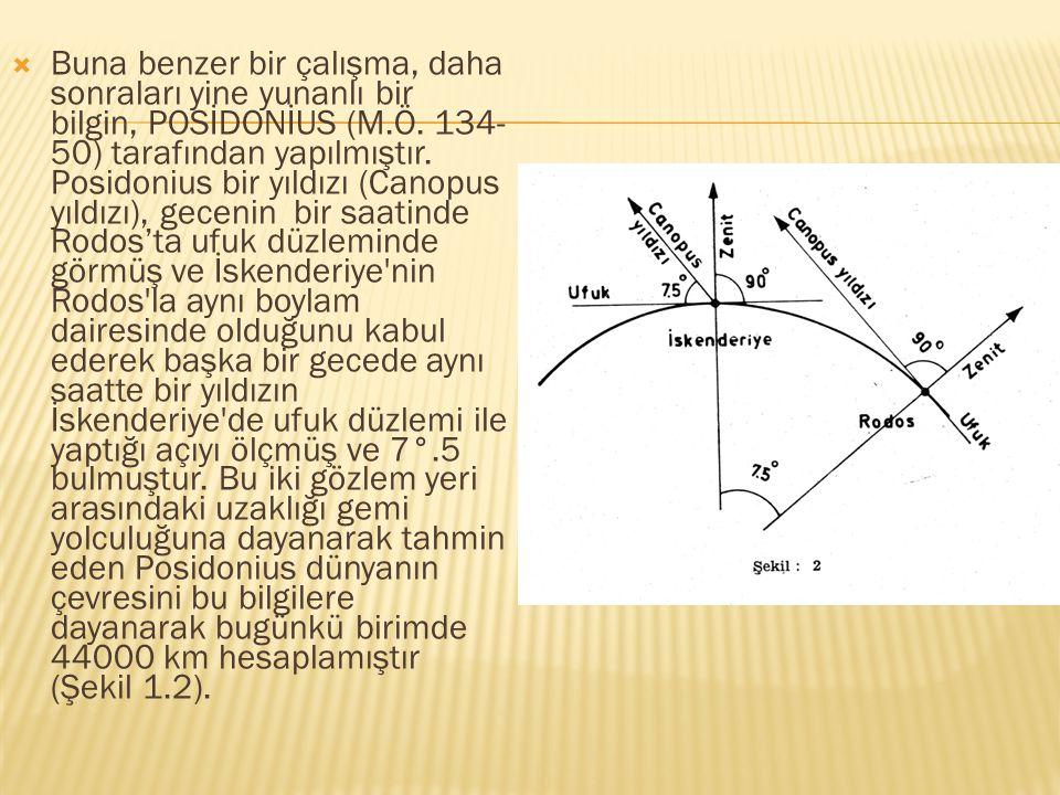  Buna benzer bir çalışma, daha sonraları yine yunanlı bir bilgin, POSİDONİUS (M.Ö. 134- 50) tarafından yapılmıştır. Posidonius bir yıldızı (Canopus y