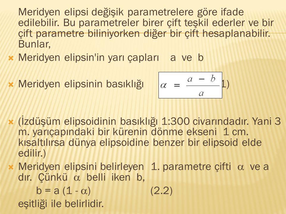 Meridyen elipsi değişik parametrelere göre ifade edilebilir. Bu parametreler birer çift teşkil ederler ve bir çift parametre biliniyorken diğer bir çi