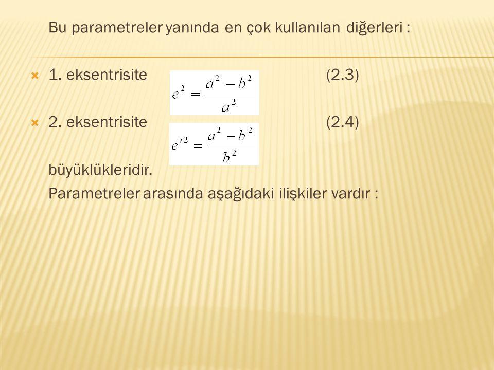 Bu parametreler yanında en çok kullanılan diğerleri :  1. eksentrisite (2.3)  2. eksentrisite (2.4) büyüklükleridir. Parametreler arasında aşağıdaki